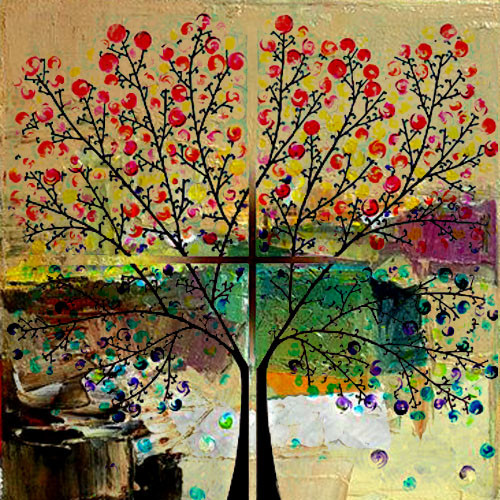 abstract , abstract painting,abstract tree, tree, red poppies , flower, red flowers