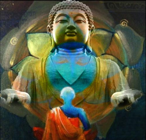 buddha, gautam buddha, gautam, buddha with monk, monk
