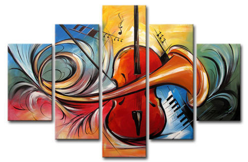 Music 8 - 50in X 30in(10in x 20in each x 2pcs)+(10in x 25in x 2pcs.)+(10in x 03in x 1pc.),RTCS_54_5030,Oil Colors,Canvas,Multipiece,Museum Quality - 100% Handpainted,Modern Art - Buy Painting online in India.