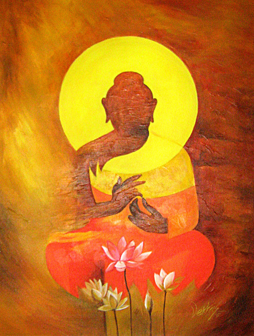 buddha, lord buddha, abstract buddha, the enlightened, gautam, buddha with flowers, buddha with lotus, pink lotus, buddha with pink lotus