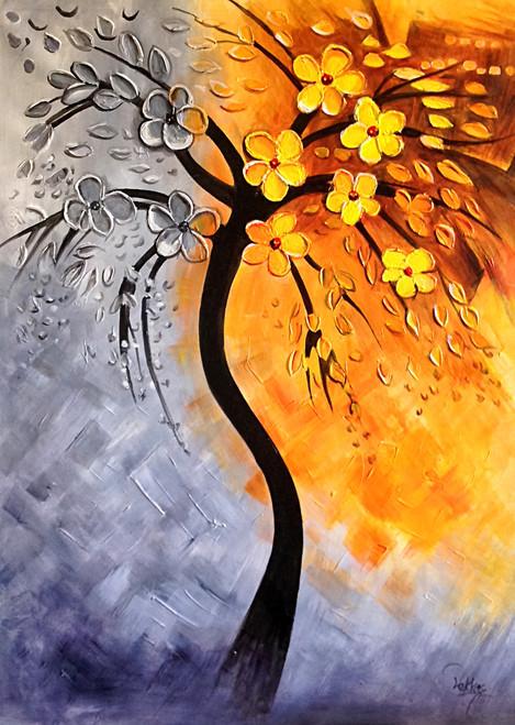 Joyous Flower - Handpainted Art Painting - 32in X 44in & Floral Paintings Online India | Shop Flower Paintings | Rose Roses ...