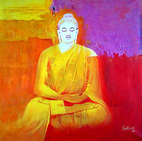 buddha, abstract buddha, meditating buddha, buddha with orange background, gautam