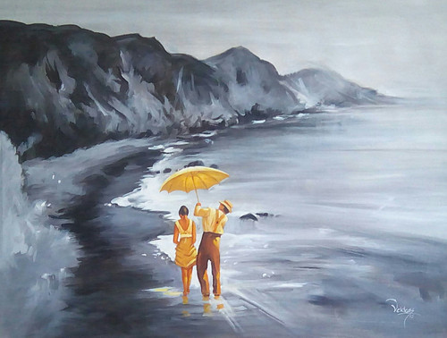 sea, seacape, beach, couple by the beach, couple, romance, romantic walk, couple with umbrella, water, sunset,black and white