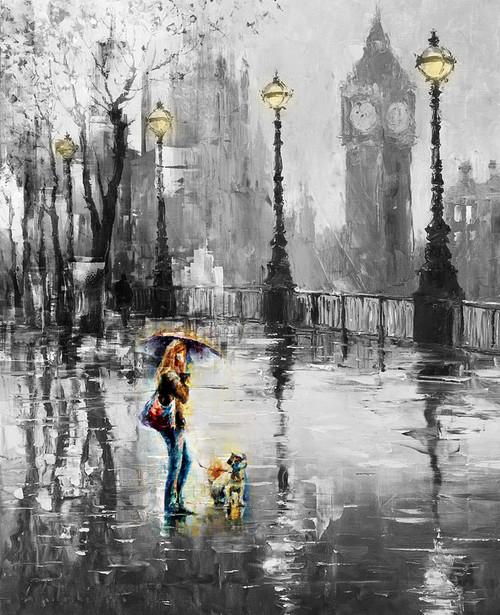 city, cityscape, girl, lady, woman, lady with dog, dog, rain, umbrella, lights, street lights,black and white