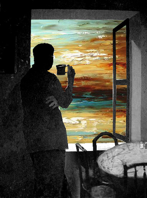 figurative, man, chair, sunset, man with coffee, coffee, home, man watching through window,black and white