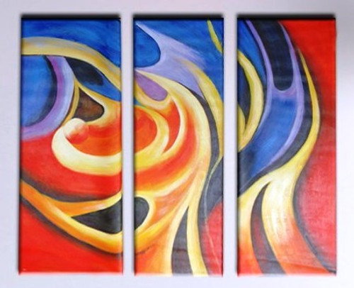 The Flow - 36in X 32in (12in x 32in x 3pcs.),RTCS_45_3632,Oil Colors,Canvas,multipiece ,paintings- Buy Canvas painting online in india.