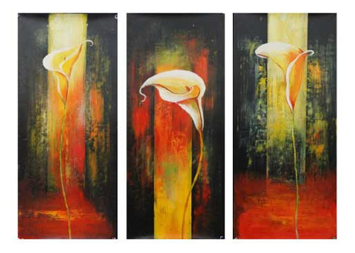 Flory Trio - 36in X 32in (12in x 32in x 3pcs.),RTCS_43_3632,Oil Colors,Canvas,Flower - Buy Canvas painting online in india,multipiece paintings