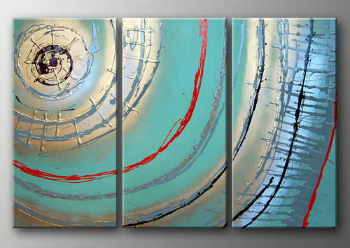 Symphony - 36in X 32in (12in x 32in x 3pcs.),RTCS_41_3632,Oil Colors,Canvas,Abstract - Buy Canvas painting online in india,multipiece paintings