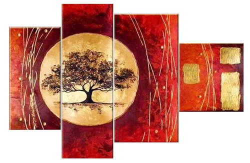 Tree of Life 2 - 54in X 36in(12in x 24in x 1pc.)+(12in x 36in x 1pc.)+(15in x 30in x 1pc.)+(15in x 16in x 1pc.),RTCS_40_5436,Oil Colors,Museum Quality - 100% Handpainted,Modern Art,  Buy Painting Online in India.