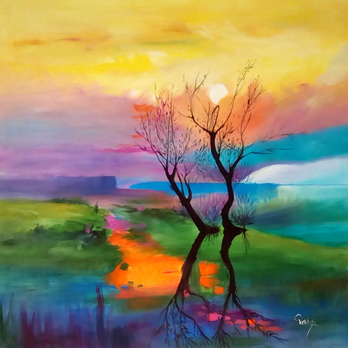 tree, abstract tree, one tree, tree painting, tree in river, tree at sunset, sunrise