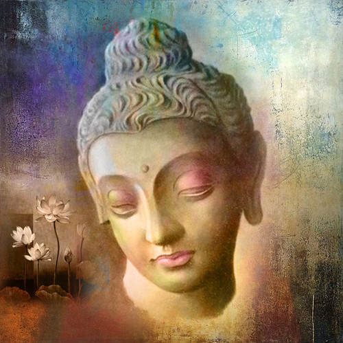 buddha, smiling buddha painting, buddha with lotus, buddha with flower, buddha face