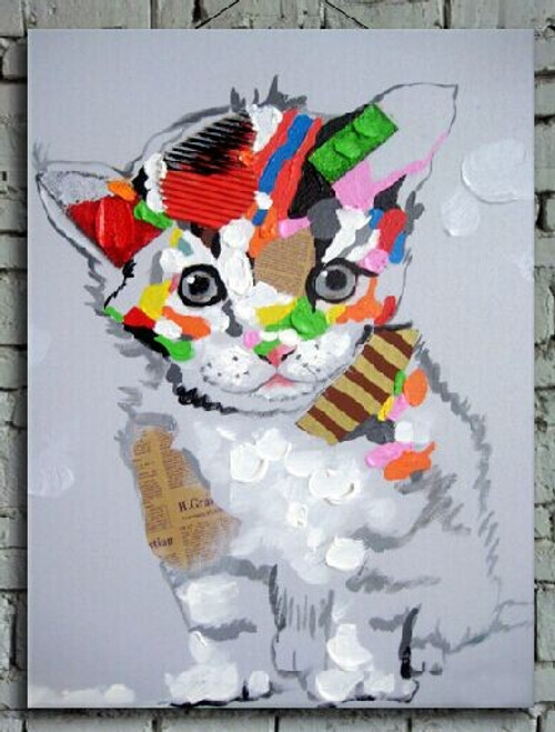 cat, cat with hat, cat painting, painting of cat, kitten, smiling kitten