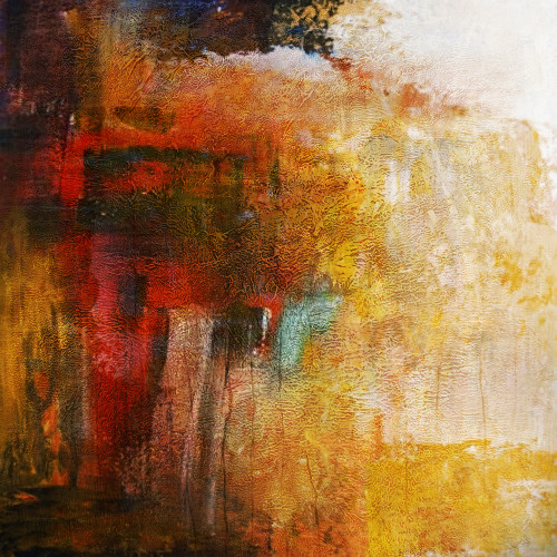 ChocoFog - 32in X 32in,31ABT569_3232,Yellow, Brown,80X80,Abstract Art Canvas Painting