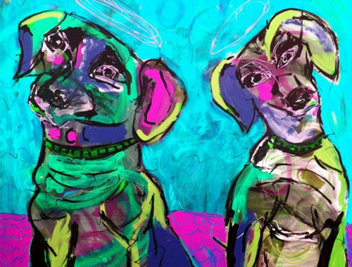 dog, dog painting,two dogs, pair of dogs
