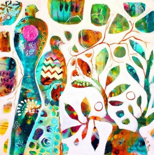 abstract, abstract bird, two birds, pair of birds, pigeon, bird painting, bird on tree