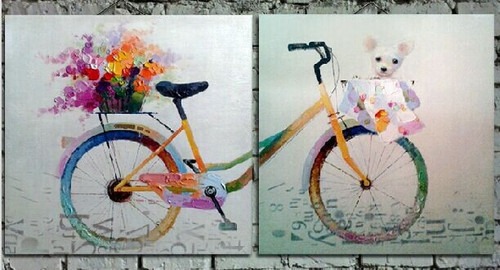 multi piece, abstract multi piece, dog, dog with newspaper, cycle, mulit piece cycle, flower, blossom, bouquet, flower on cycle