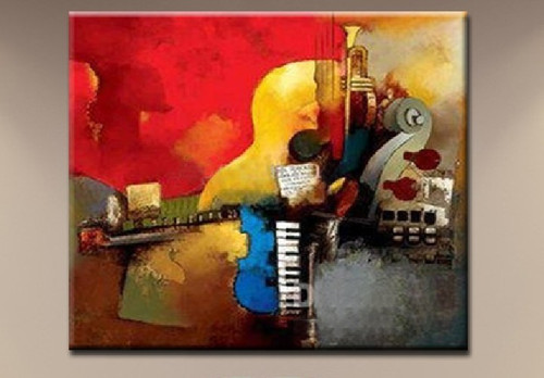 Music 10 - 32in x 32in ,RTCSB_13_3232,32in x 32in,Music, Sangit,Songs, Musical instrument,Oil Colors,Canvas,Cmmunity Artists Group,Museum Quality - 100% Handpainted
