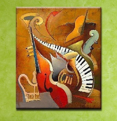 Music 11 - 24in x 36in ,RTCSB_14_2436,24in x 36in ,Music,Sangit,Songs, Musical instrument,Oil Colors,Canvas,Cmmunity Artists Group,Museum Quality - 100% Handpainted