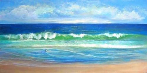 Deep Blue Sea - Handpainted Art Painting - 48in X 24in