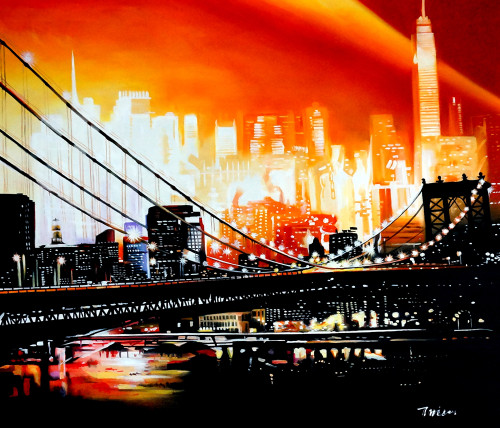 cityscape, city painting, landscape, landscape painting, bridge, bridge painting, bridge in city, city at night, night, city bridge at night