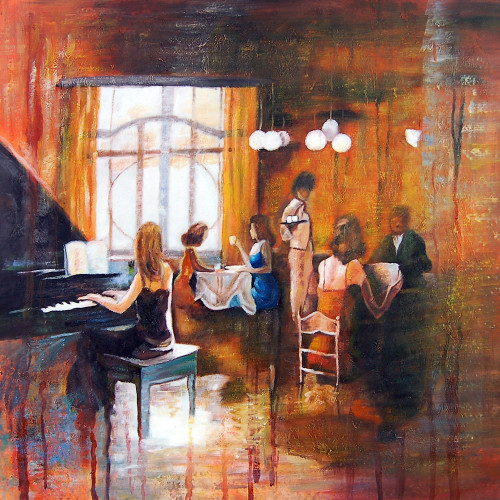 music, music painting, musician, painting of a musician, restaurant, painting of the restaurant, waiter, people at restaurant, city, cityscape, hotel , eatery
