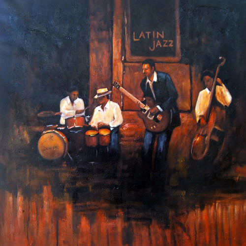 music, music painting, musician, painting of a musician, guitar, musical instruments, music, dance, congo, bongo, chailo