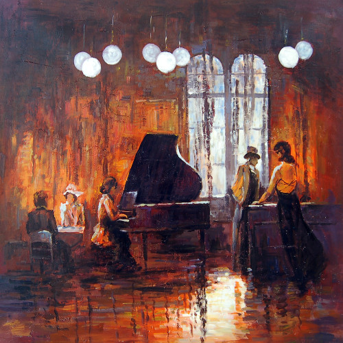 music, music painting, musician, painting of a musician, guitar, musical instruments, music, dance, congo, bongo, chailo,dance, couple dancing, piano, dancing couple painting, couple painting