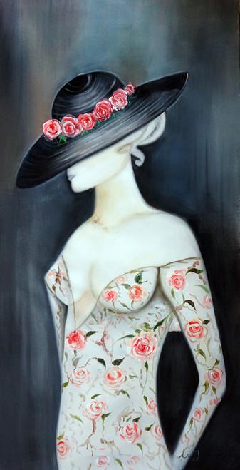 Lady , Women in Black Hat,Floral Frock,Black Background Pink Dress