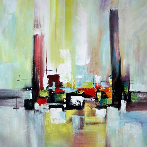 abstract, abstract painting,abstract blocks, blocks, square, green, green abstract