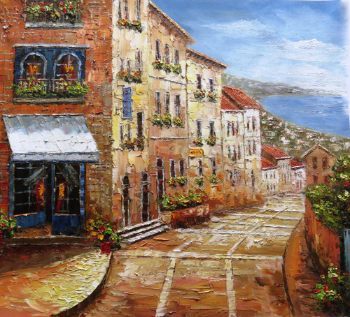 Venice 7 - 36in x 32in,RTCSB_22_3632,36in  x 32in,Blue sky,landscape,scenary,Nature, Ship,Blueish Water,vience,potrait,Oil Colors,Canvas,Community Artists Group,Museum Quality - 100% Handpainted