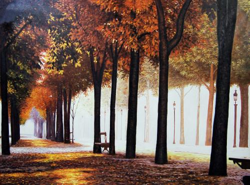 landscape, landscape painitng, city painting,garden, painting of the garden, walk in the garden, forest, tree, trees , tree painting, bench in the garden