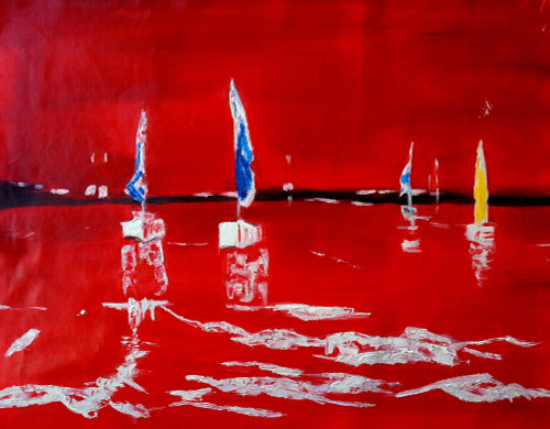 abstract, abstract painting, boats, abstract boats, red, red abstract painting