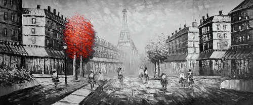 city, cityscape, city painting,landscape, landscape painting, people, street, people on street, building, building painting, eiffel, paris, eiffel tower, eiffel painting