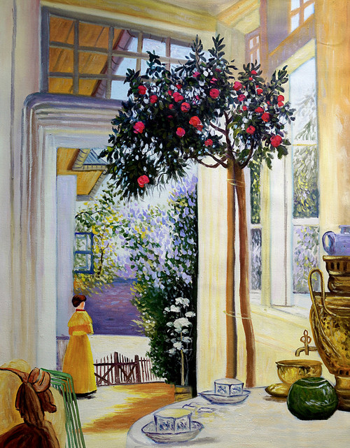 home, lady, girl, girl waiting, waiting, house painting, tree, room,table
