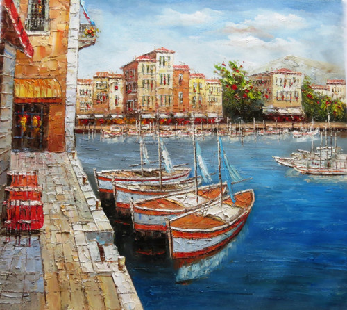 Venice 15 - 36in x 32in,RTCSB_30_3632,36in  x 32in,Blueish water,Floating Ships,Blue sky,landscape,scenery,Nature, Ship,Blueish Water,vience,potrait,Oil Colors,Canvas,Community Artists Group,Museum Quality - 100% Handpainted