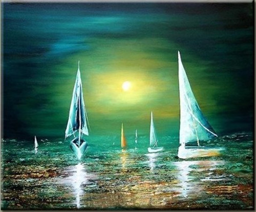 Silent Moon Ride - 36in x 44in,RTCSB_50_3644,Blue sky,landscape,scenary,Nature, Ship,Oil Colors,Canvas,Community Artists Group,Museum Quality - 100% Handpainted