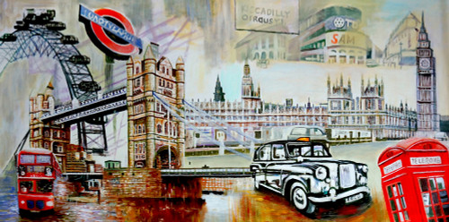 Landscape, cityscape, bridge, london, london painting, painting, car , road, buildings, city, telephone booth