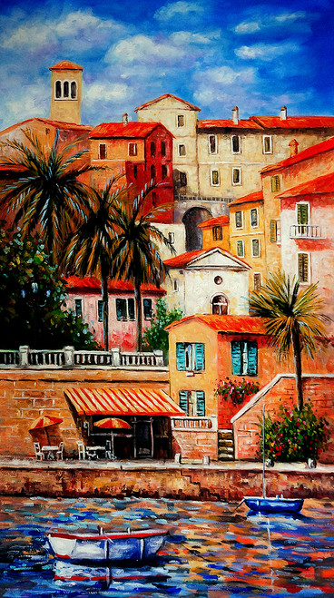landscape, cityscape, seascape, tree, coconut tree, sea, houses by seaside, river, boat, boat in sea, water, painting