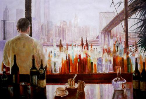 man, man standing, bottles, wine, wine bottles, still life, man in the bar, restaurant