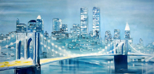 landscape, cityscape, bridge, bridge painting, painting of city, city painting, bridge in city, bridge at night, night, city at night ,buildings