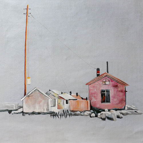 Red House - Handpainted Art Painting - 32in X 32in