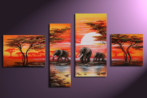 Elephant Herd At Sunrise - 68in X 32in (Details Inside),RTCSB_36_6032,Oil Colors,Museum Quality - 100% Handpainted,Multipiece Paintings,Elephant painting - Buy Painting Online in India.