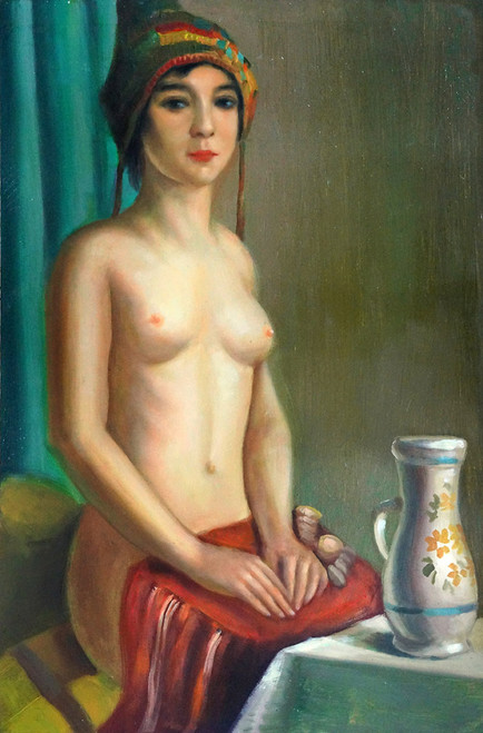 lady, woman, girl , woman painting, nude, nude art, nude painting, painting of the nude lady, vase, lady with vase