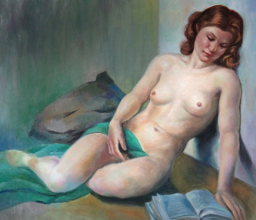 lady, woman, girl , woman painting, nude, nude art, nude painting, painting of the nude lady, book, lady with book