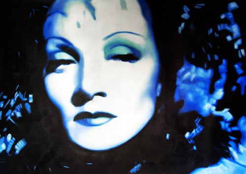 Lady waiting, girl, woman, blue painting, portrait, famous personality, hollywood star, actress