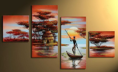 Rustic Shores  - 64in X 32in,RTCSB_42_6432,Oil Colors,Museum Quality - 100% Handpainted,Multipiece Paintings,Figarative,Seascape - Buy Painting Online in India.