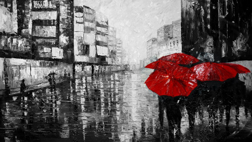 Landscpe,CityScape,Rainy Days,Red Umbrella