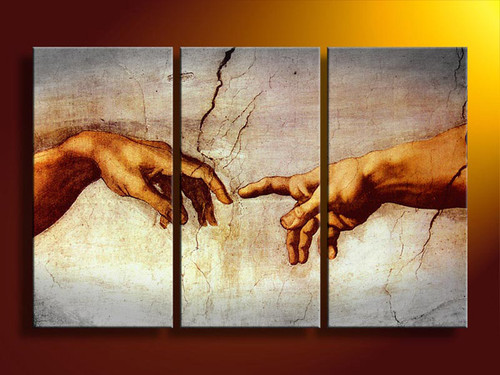 Creation of Adam by Michelangelo Replica Painting - 48in X 32in (16in X 32in X each X 3Pcs.),RTCSB_45_4832,Oil Colors,Museum Quality - 100% Handpainted,Multipiece Paintings - Buy Painting Online in India.