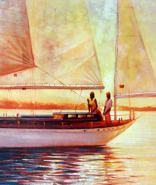 Landscape,Seascape,Beach,Sun,Sea,Boats,Ships,Yacht,Couple on Yacht