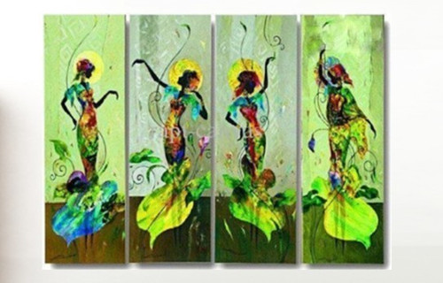 Dance of Passion - 48in X 36in (12in X 36in X each X 4Pcs.),RTCSB_47_4836,Oil Colors,Museum Quality - 100% Handpainted,Multipiece Paintings,Figurative,Modern art - Buy Painting Online in India.